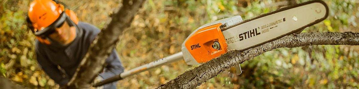 Man running Stihl pole pruner