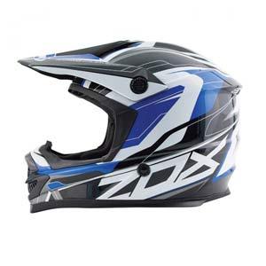 Blue, black, and white Zox ATV helmet
