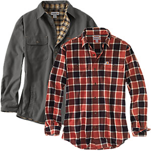 Carhartt plaid button up shirt and grey button up shirt