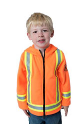 child wearing Lil Workers orange hi viz hoodie