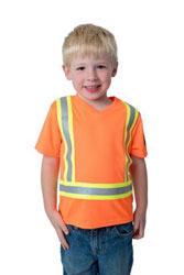 Child wearing Lil Workers orange hi viz shirt