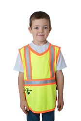 Child wearing Lil Workers yellow hi viz vest
