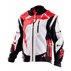 Red, white, and black motovan riding jacket