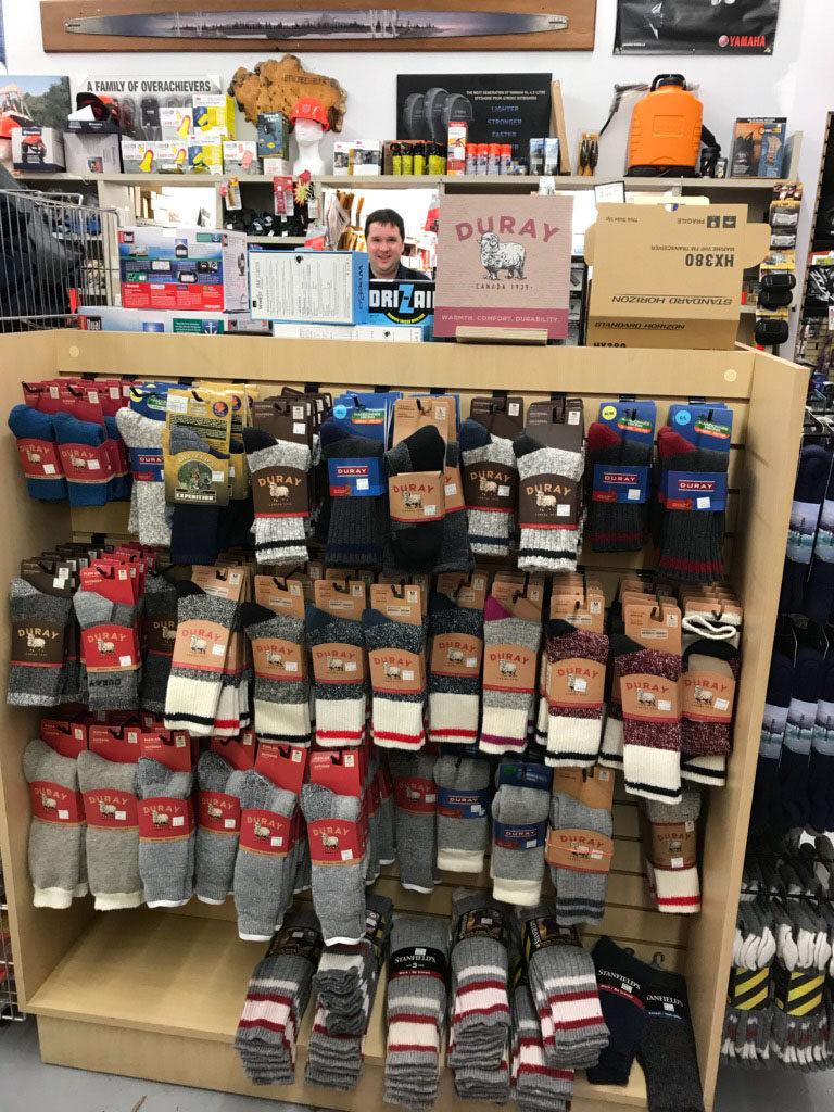 Display of Duray socks