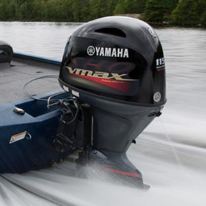 Yamaha outboard on boat in water