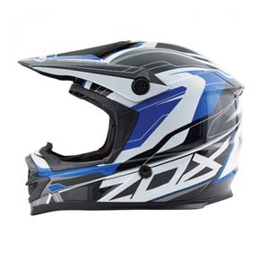 Blue, black, and white Zox ATV helmet