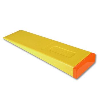 Orange and yellow Hardhead Brand felling wedge